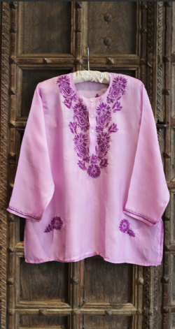 Hand Embroidered Violet Silk Shirt